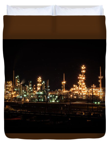 Refinery At Night 3 Duvet Cover