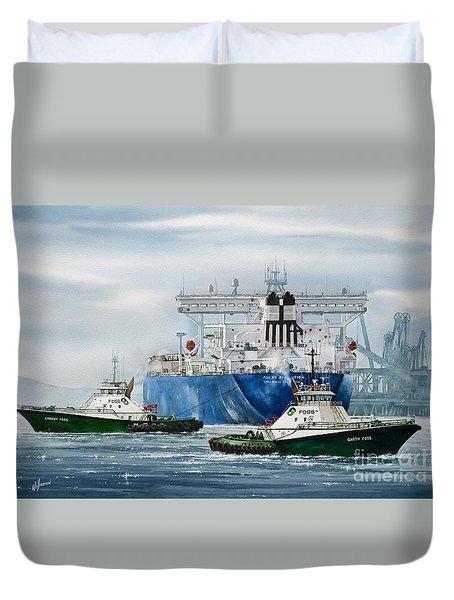 Refinery Tanker Escort Duvet Cover by James Williamson