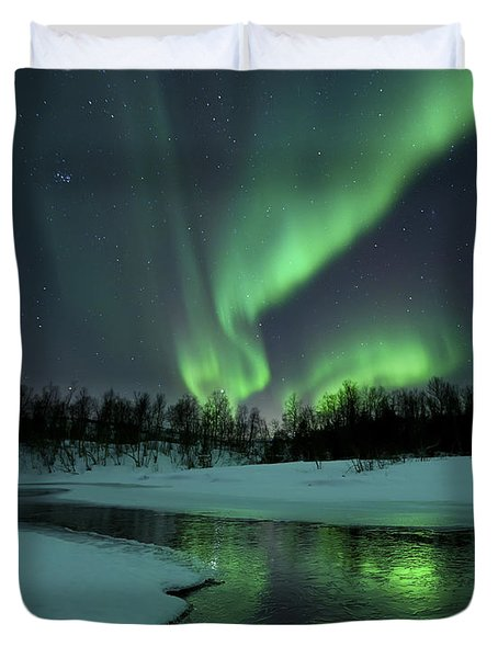 Duvet Cover featuring the photograph Reflected Aurora Over A Frozen Laksa by Arild Heitmann