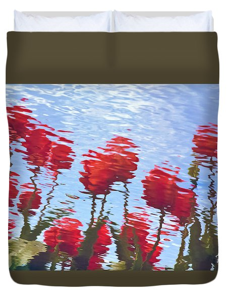 Reflected Tulips Duvet Cover