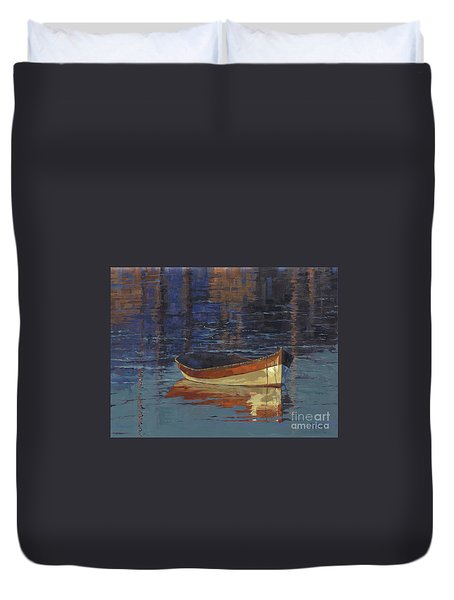 Sold Reflecting At Day's End Duvet Cover by Nancy  Parsons