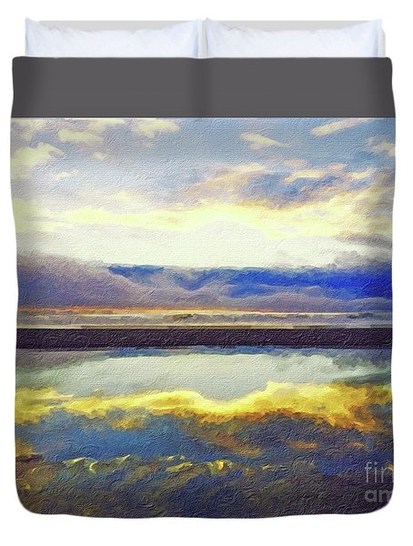 Reflecting At The Beach Duvet Cover