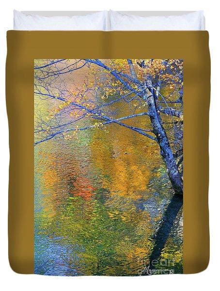 Reflecting Autumn Duvet Cover by Mariarosa Rockefeller