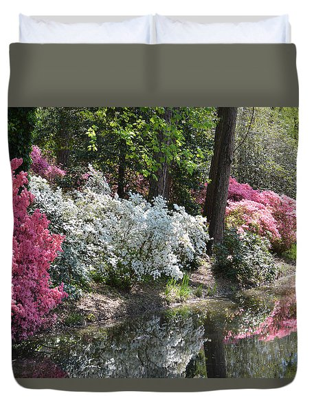Reflecting Azaleas Duvet Cover