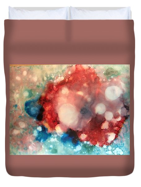 Duvet Cover featuring the painting Reflecting by Denise Tomasura