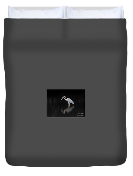 Reflecting Heron Duvet Cover by Judy Wolinsky