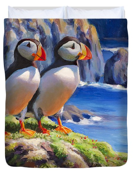 Horned Puffin Painting - Coastal Decor - Alaska Wall Art - Ocean Birds - Shorebirds Duvet Cover