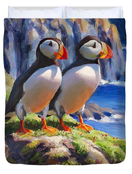 Reflecting - Horned Puffins - Coastal Alaska Landscape Duvet Cover