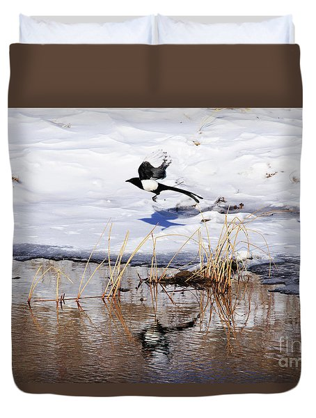 Reflecting Magpie Duvet Cover