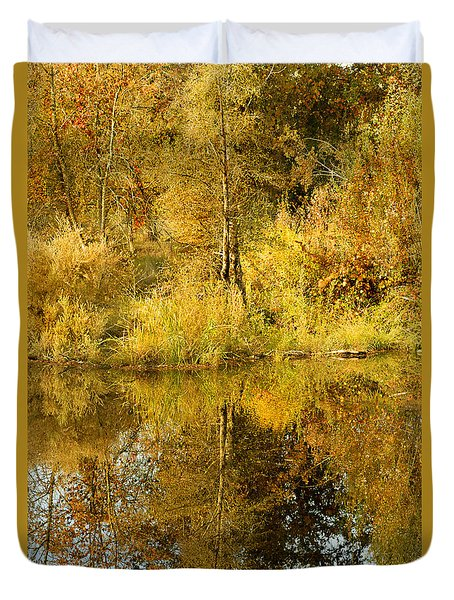 Reflecting On Autumn Leaves Duvet Cover by Pamela Patch