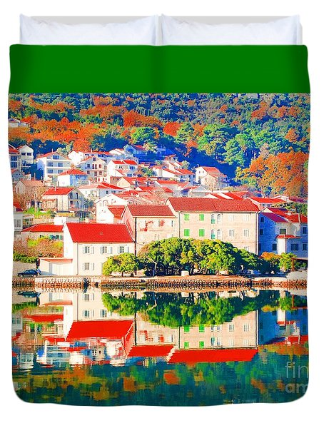 Reflecting On Croatia Town Autumn Duvet Cover