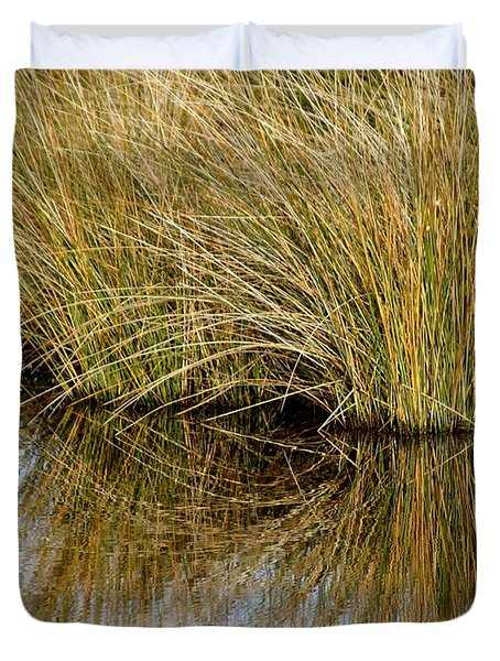 Reflecting Reeds Duvet Cover by Marty Koch