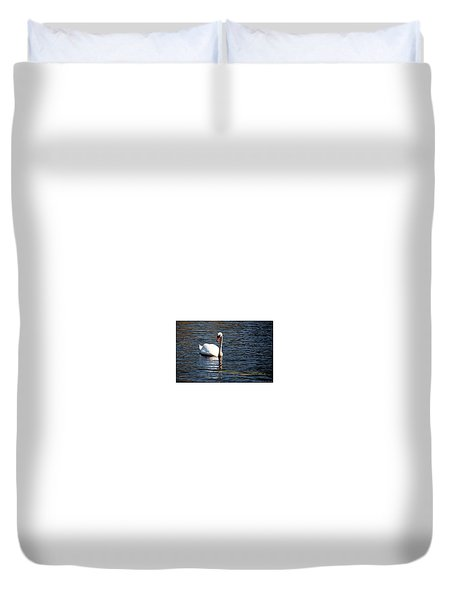Duvet Cover featuring the digital art Reflecting Swan by Wayne Marshall Chase