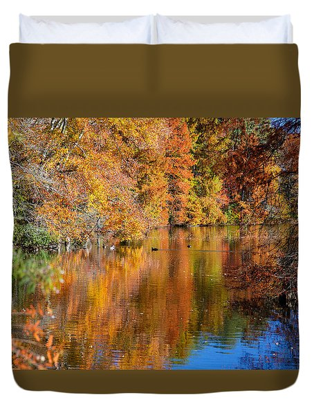 Reflected Fall Foliage Duvet Cover