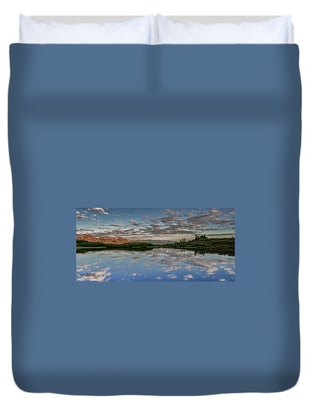 Duvet Cover featuring the photograph Reflection In A Mountain Pond by Don Schwartz