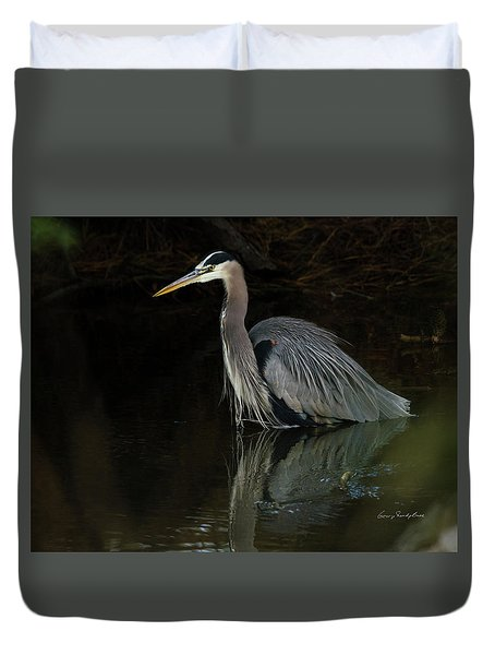 Reflection Of A Heron Duvet Cover by George Randy Bass