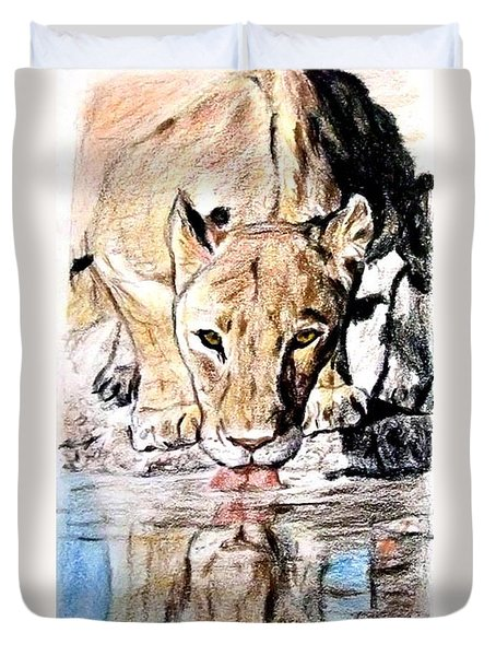Reflection Of A Lioness Drinking From A Watering Hole Duvet Cover by Jim Fitzpatrick