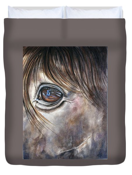 Reflection Of A Painted Pony Duvet Cover by Mary McCullah