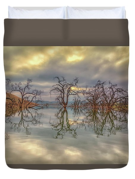 Reflection Of Clouds And Trees Duvet Cover