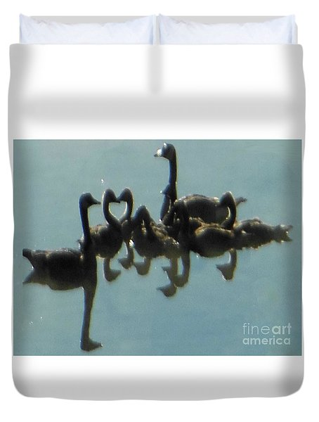 Reflection Of Geese Duvet Cover