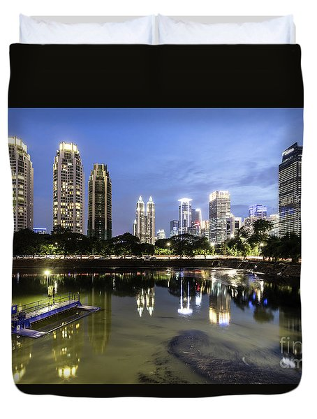 Reflection Of Jakarta Business District Skyline During Blue Hour Duvet Cover
