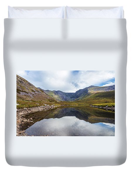 Duvet Cover featuring the photograph Reflection Of Macgillycuddy's Reeks And Carrauntoohil In Lough E by Semmick Photo
