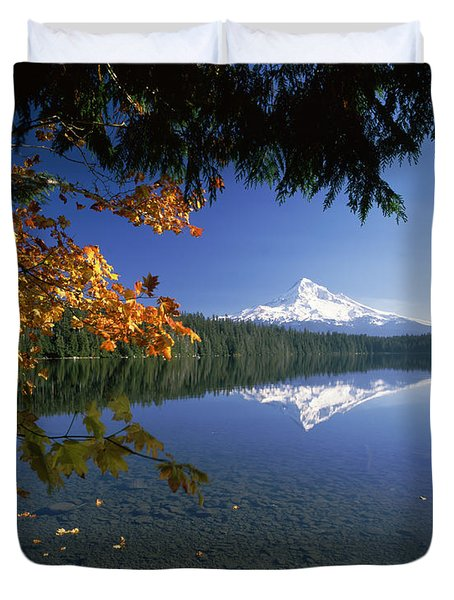 Reflection Of Mountain And Trees Duvet Cover