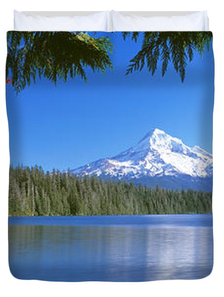 Reflection Of Mountain In A Lake, Lost Duvet Cover