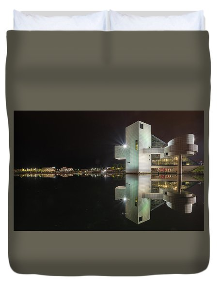 Reflection Of Rock And Roll In Cleveland Duvet Cover