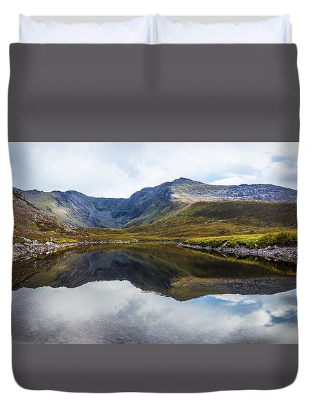 Duvet Cover featuring the photograph Reflection Of The Macgillycuddy's Reeks In Lough Eagher by Semmick Photo
