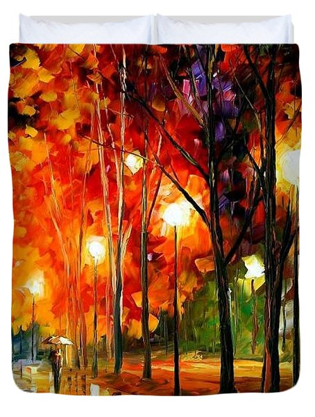 Reflection Of The Night  Duvet Cover by Leonid Afremov