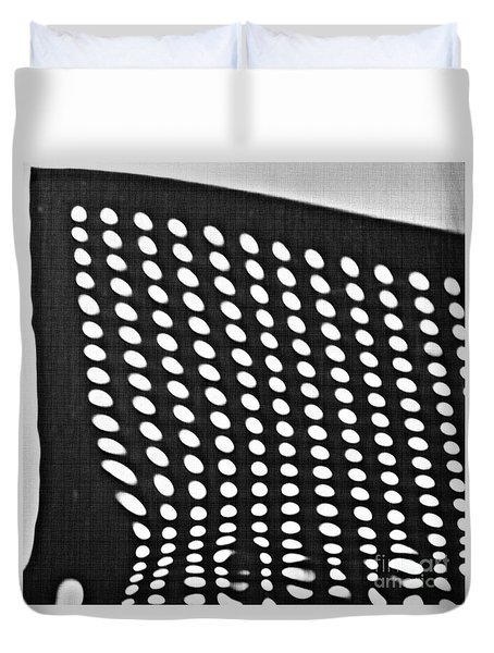 Duvet Cover featuring the photograph Reflection On 42nd Street 3 Grayscale by Sarah Loft