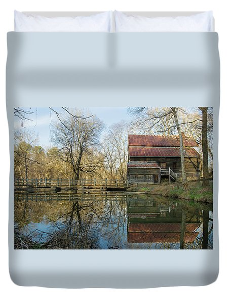 Reflection On A Grist Mill Duvet Cover by George Randy Bass