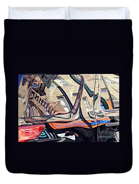 Duvet Cover featuring the photograph Reflection On A Parked Car 18 by Sarah Loft