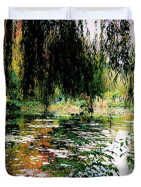 Duvet Cover featuring the photograph Reflection On Oscar - Claude Monet's Garden Pond by D Davila