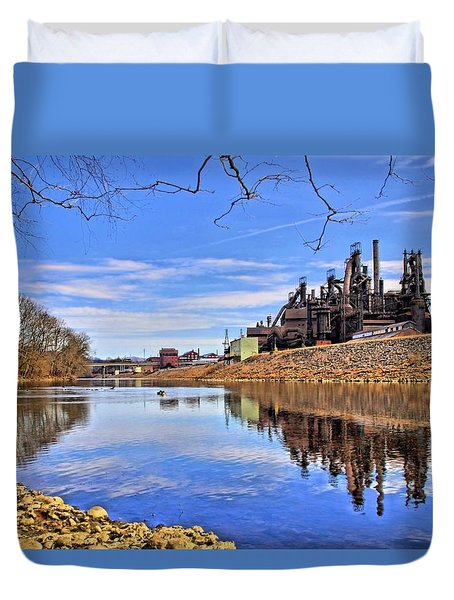Reflection On The Lehigh - Bethlehem Pa Duvet Cover