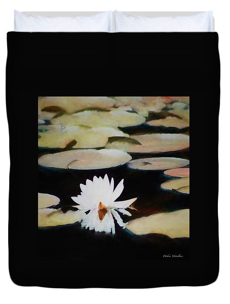 Duvet Cover featuring the painting Reflection Pond by Debra     Vatalaro