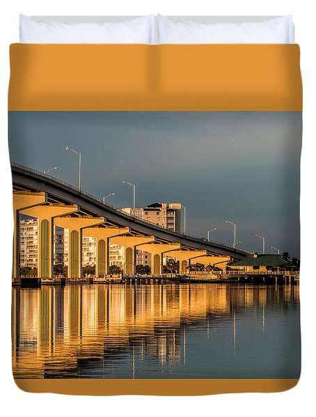 Reflections And Bridge Duvet Cover by Dorothy Cunningham