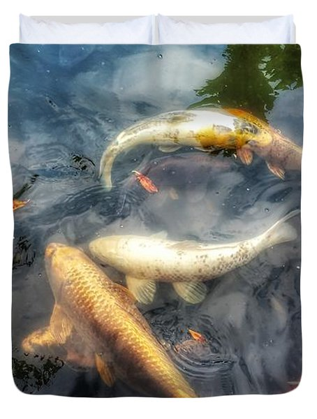 Reflections And Fish 2 Duvet Cover by Isabella F Abbie Shores FRSA