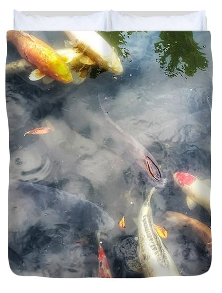 Reflections And Fish 4 Duvet Cover by Isabella F Abbie Shores FRSA