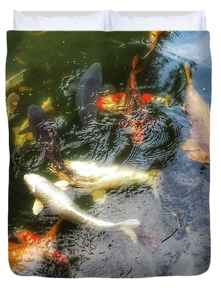 Reflections And Fish 6 Duvet Cover