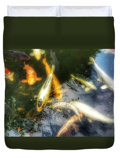 Reflections And Fish 7 Duvet Cover by Isabella F Abbie Shores FRSA