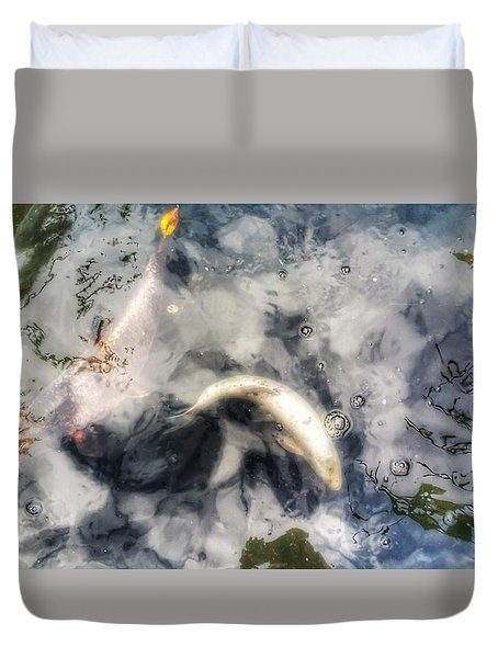Reflections And Fish 8 Duvet Cover by Isabella F Abbie Shores FRSA