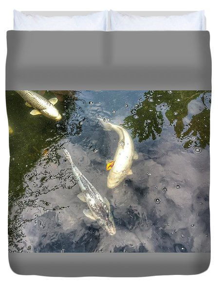 Reflections And Fish 9 Duvet Cover by Isabella F Abbie Shores FRSA