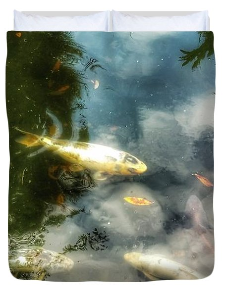 Reflections And Fish  Duvet Cover
