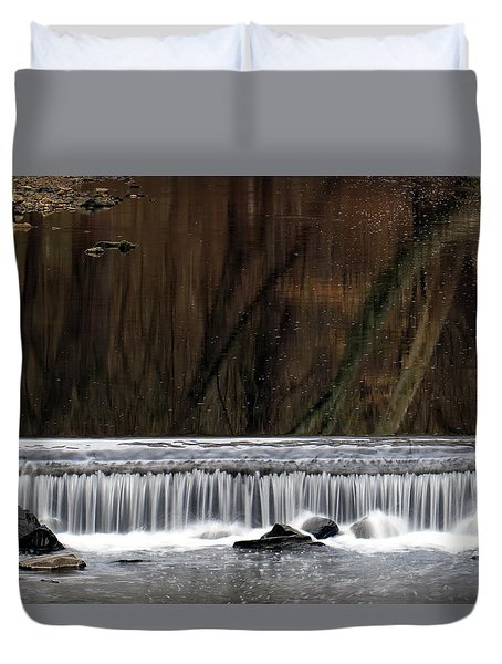 Duvet Cover featuring the photograph Reflections And Water Fall by Dorin Adrian Berbier