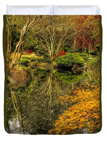 Duvet Cover featuring the photograph Reflections At Japanese Gardens by Barbara Bowen