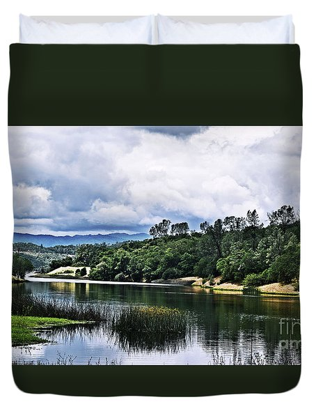 Reflections At Nicasio Reservoir  Duvet Cover