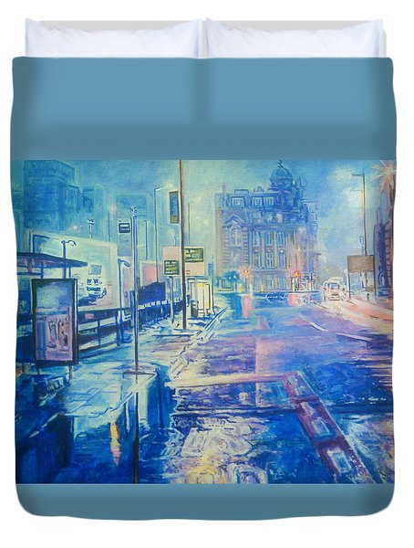 Reflections At Night In Manchester Duvet Cover