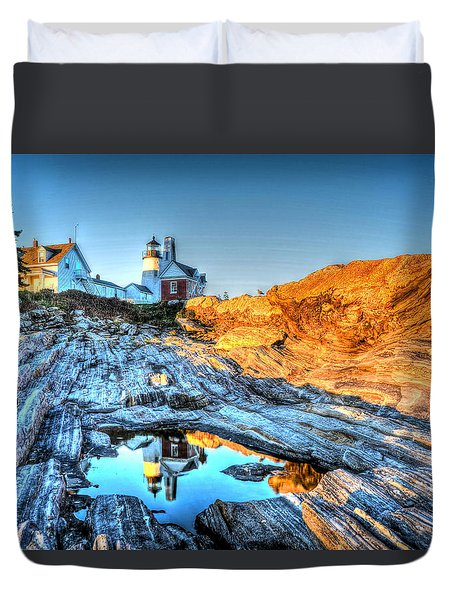 Reflections At Pemaquid Point Duvet Cover